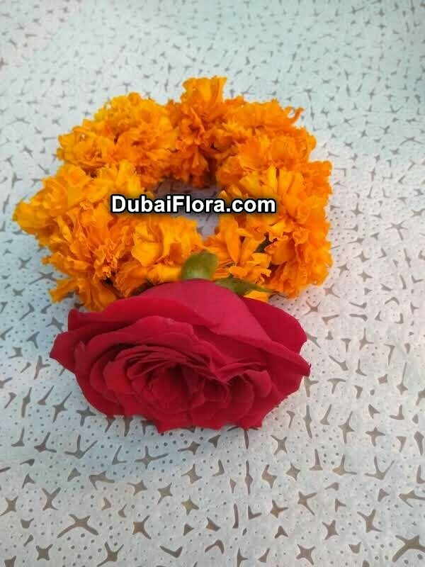 Marigold Flower Bracelet with Rose (2 Pieces)