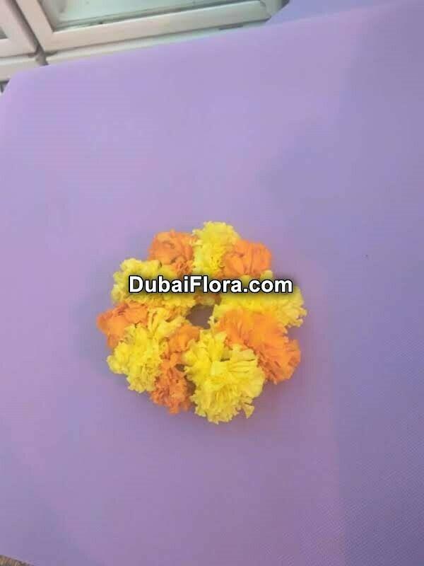 Yellow and Orange Marigold Kangan Bracelet (2 Pieces)