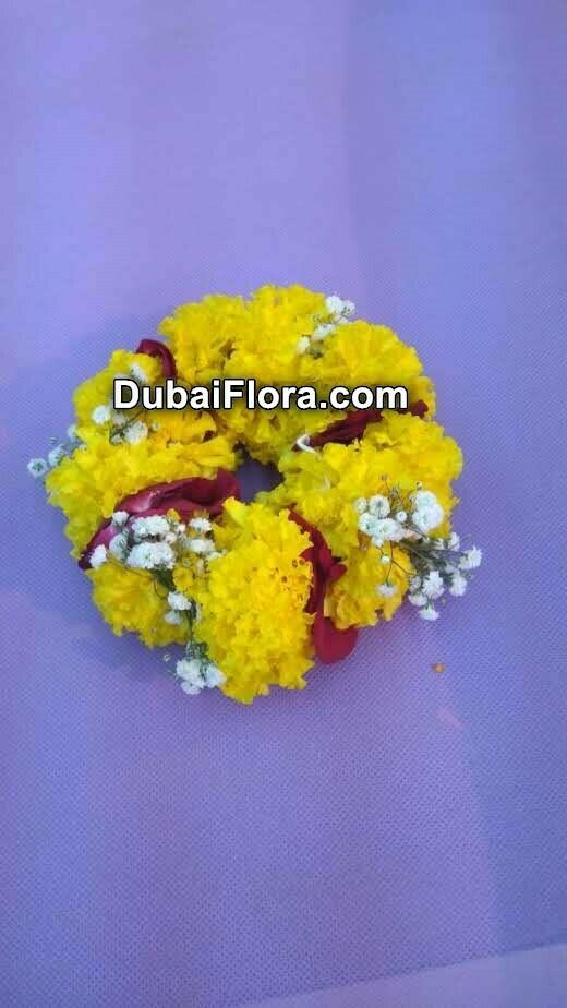 Marigold Kangan Bracelet with Rose Petals (2 Pieces)