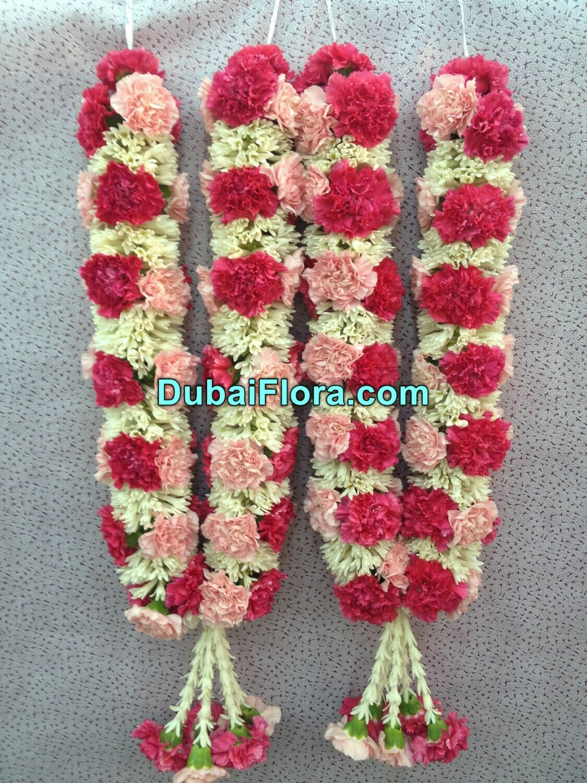 Pink Carnation Flowers and Tuberose Garland
