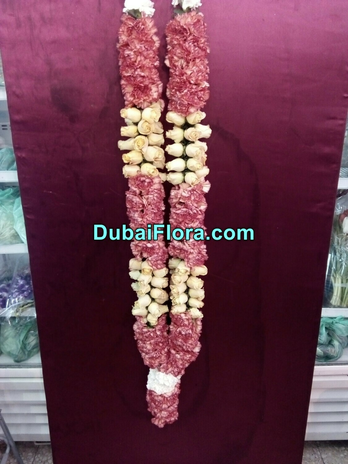 Pink Carnation and White Roses Garland