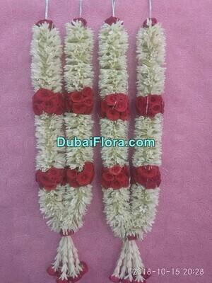 Pair of Tuberose and Red Roses Garland