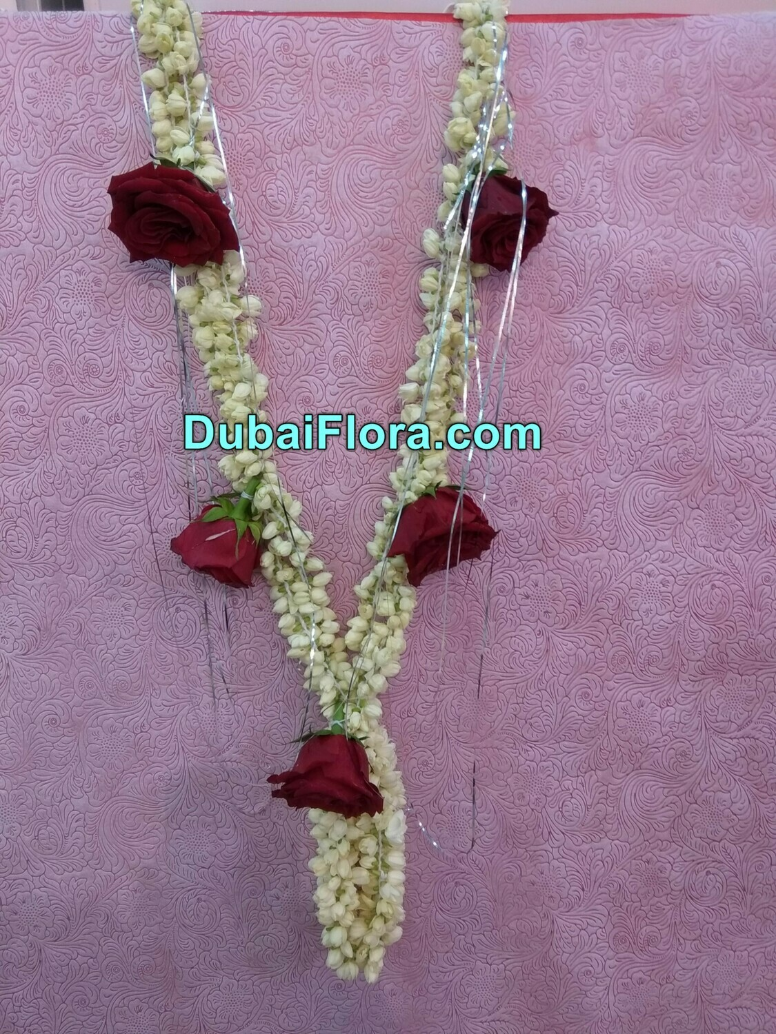 Jasmine and Red Roses Garland