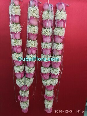 Pair of Tuberose and Pink Roses Garland