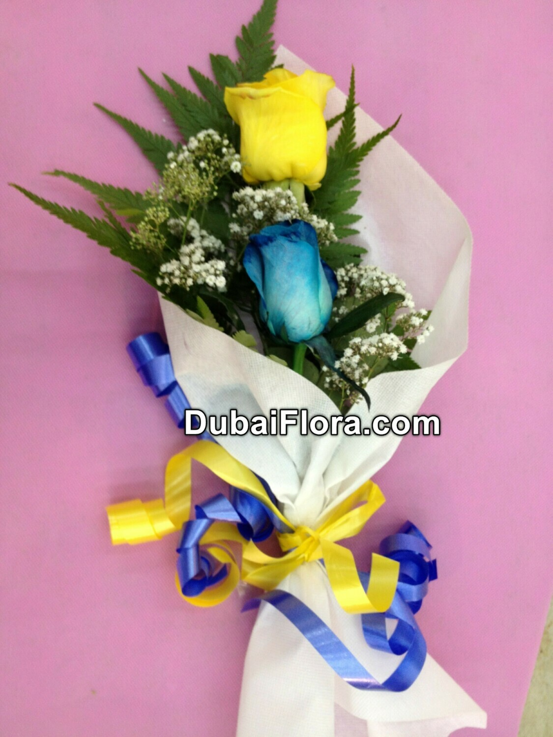 Blue and Yellow Rose Bouquet