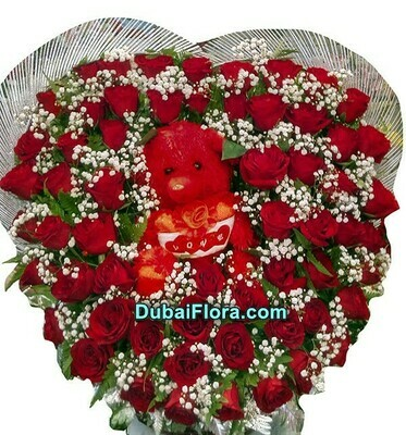 Red Roses Bouquet with Teddy