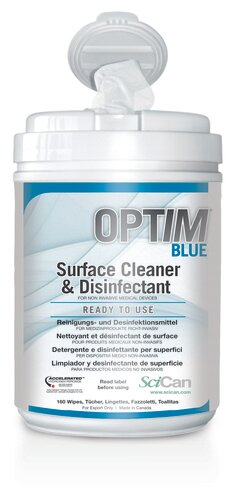 OPTIM BLUE Ready To Use Wipes (12/case)  X 160 per roll