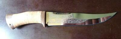 Нож Катран (позолота, береста)