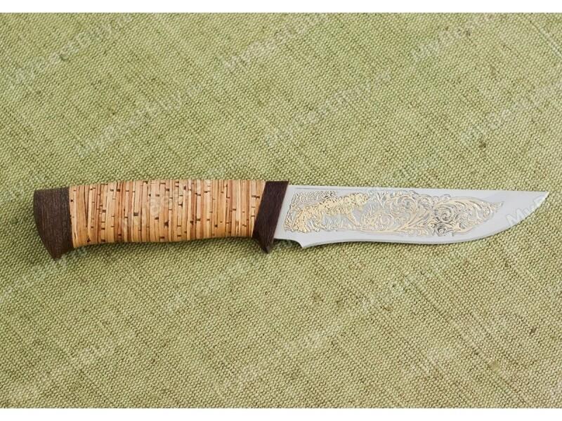 Нож Фокс-1 (позолота, береста)