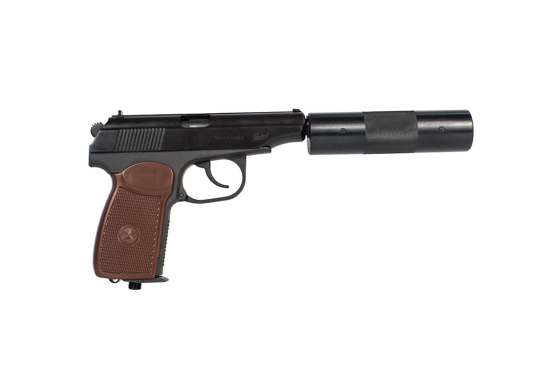 Пистолет пневматический газобалонный МР-654К-22 с фальшглушителем, обн. ручка 84187,