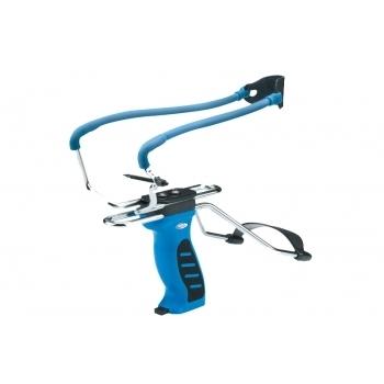 Рогатка с упором и прицелом, магазин в рукоятке, синяя (MK-SL06)