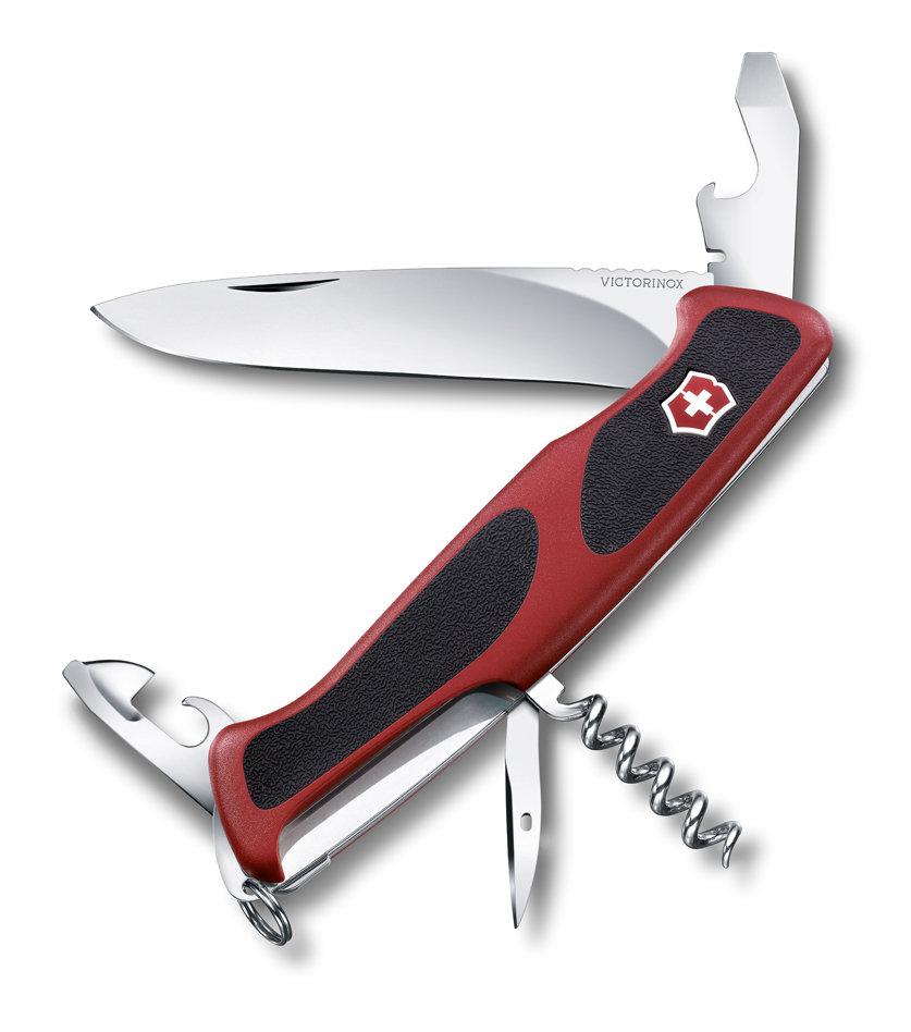 Нож Victorinox RangerGrip 68, 130 мм, 11 функций, красный с черным 0.9553.C