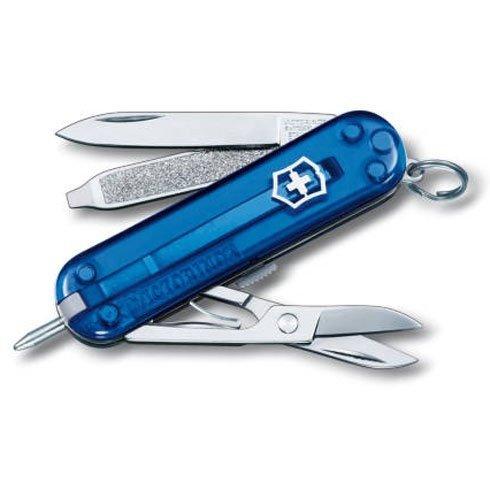 Нож-брелок Victorinox Classic Signature, 58 мм, 7 функций, полупрозрачный синий 0.6225.T2