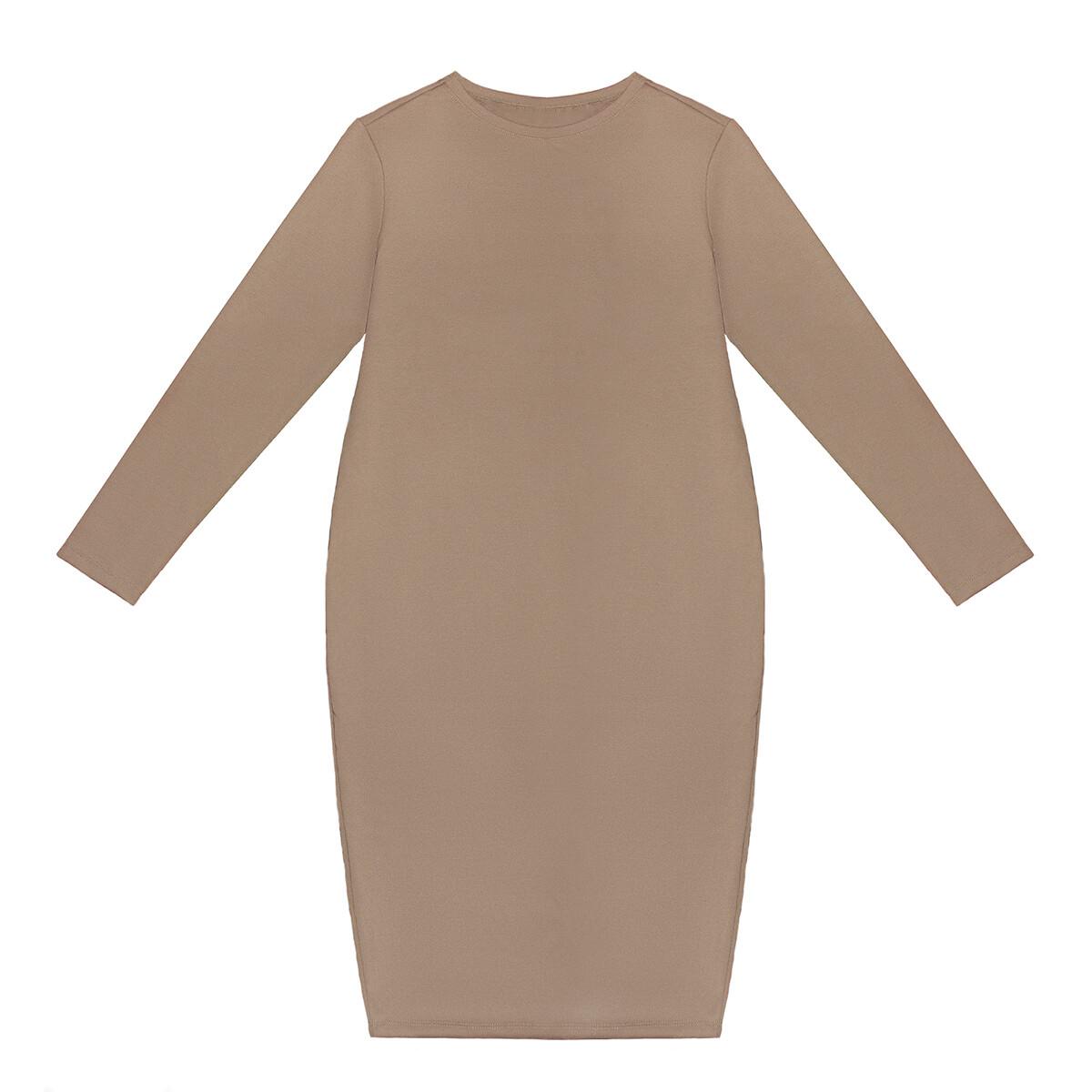 Взрослое трикотажное платье песочное