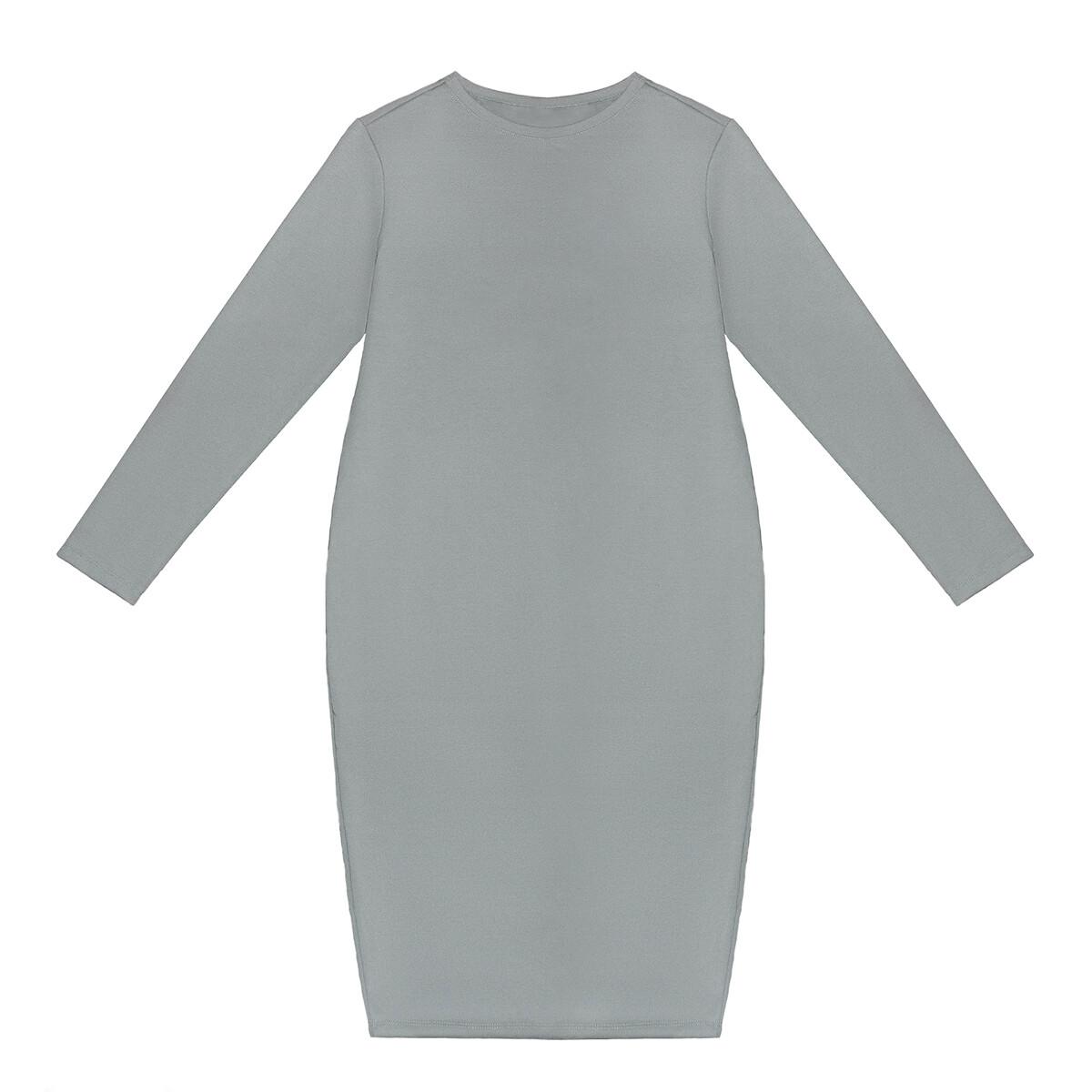 Взрослое трикотажное платье серое