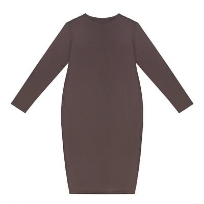 Взрослое трикотажное платье серо-коричневое