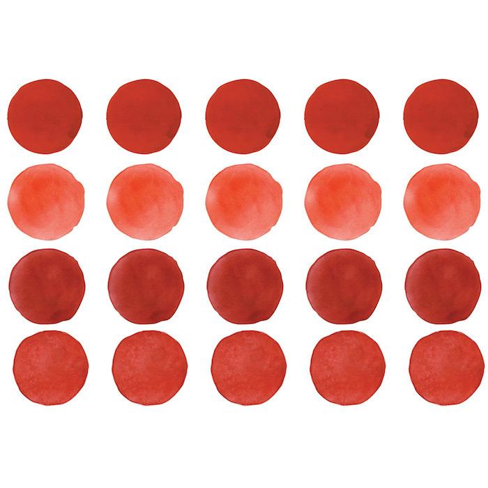 Интерьерная наклейка Watercolor Polka Dots — красный