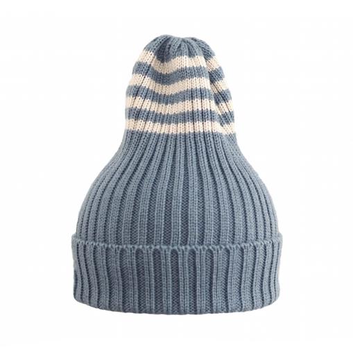 Полосатая шапка серо-голубая