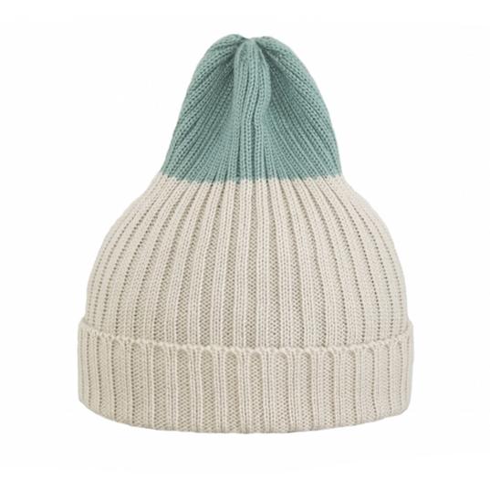 Двухцветная шапка Tamanegi светло-бежевая/цвет морской волны пастельный