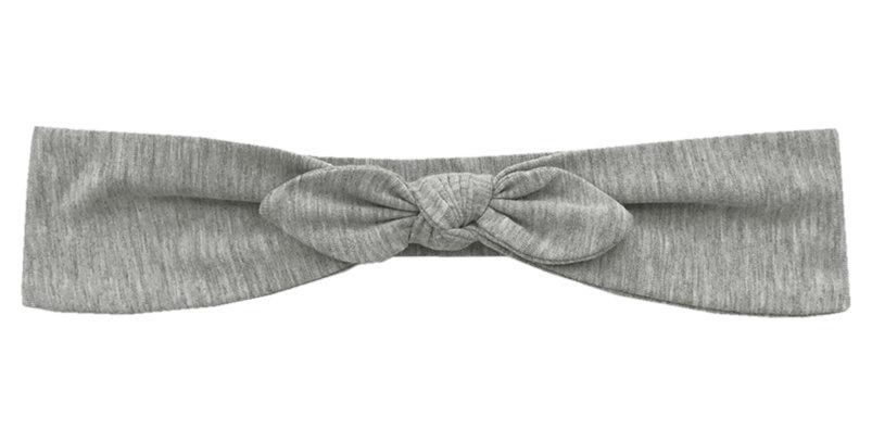 Трикотажная повязка с бантиком серая меланж