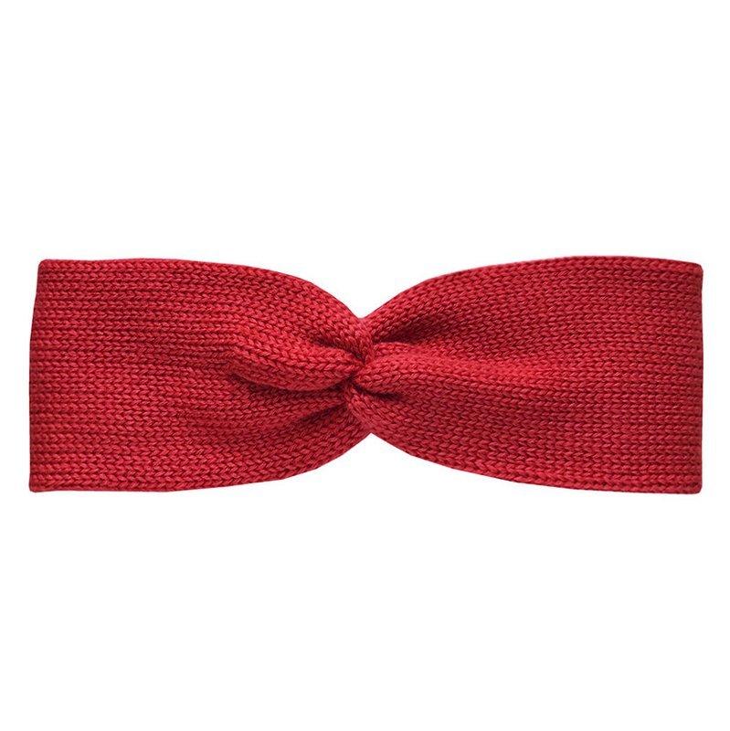 Вязаная повязка темно-красная