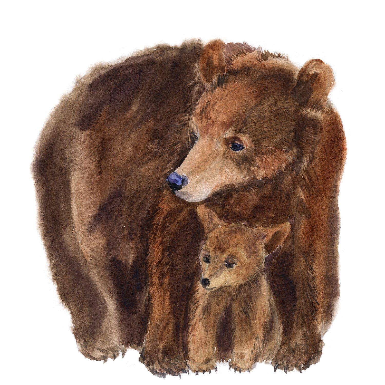 """Акварельная картина """"Медведица с медвежонком"""""""