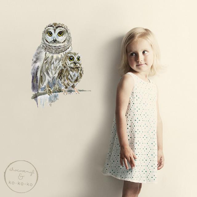 Интерьерная наклейка «Сова с совёнком» (А4)