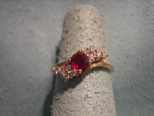 Ruby and Diamond Ring 14 Karat Gold Ring