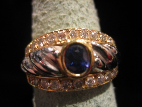 Sapphire and Diamond Ring 18 Karat Gold