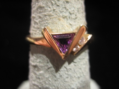 Amethyst and Diamond Ring 14 Karat Gold Kabana Designer