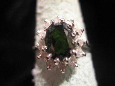 Tourmaline and Diamond Ring 14 Karat White Gold