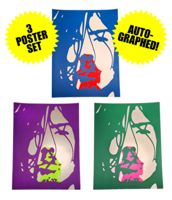 Hand Numbered AUTOGRAPHED Screen Printed 3 Poster Set