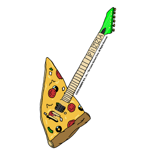 Pizza Guitar Sticker