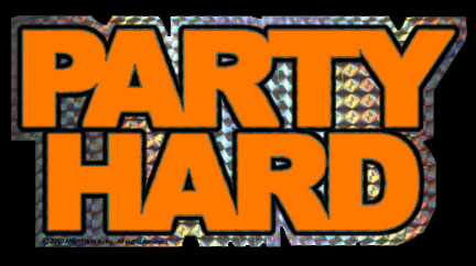 Orange Party Hard Sticker