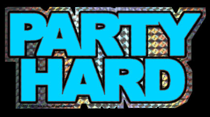 Blue Party Hard Sticker