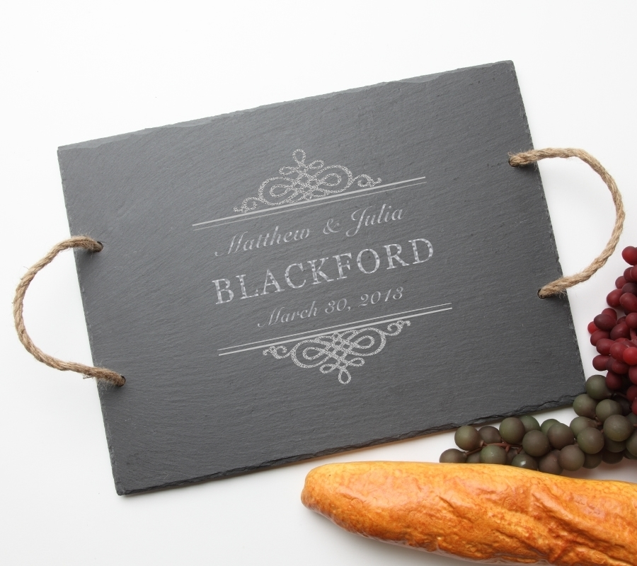 Personalized Slate Serving Tray Rope 15 x 12 DESIGN 14