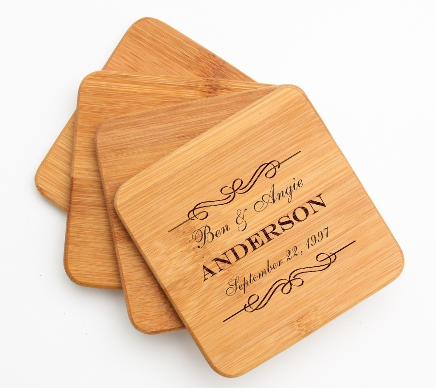 Personalized Bamboo Coasters Engraved Bamboo Coaster Set DESIGN 9