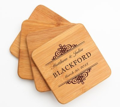 Personalized Bamboo Coasters Engraved Bamboo Coaster Set DESIGN 14