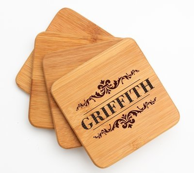 Personalized Bamboo Coasters Engraved Bamboo Coaster Set DESIGN 16