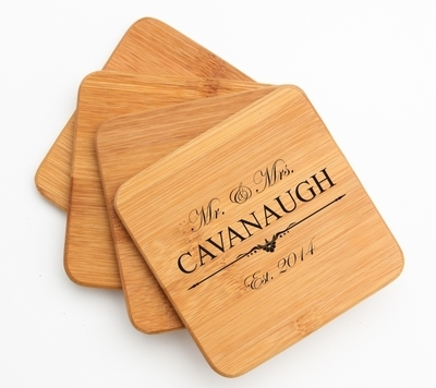 Personalized Bamboo Coasters Engraved Bamboo Coaster Set DESIGN 19