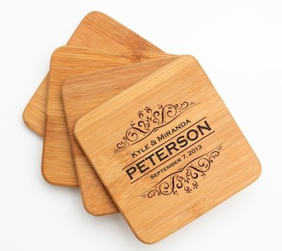 Personalized Bamboo Coasters Engraved Bamboo Coaster Set DESIGN 7