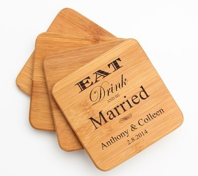 Personalized Bamboo Coasters Engraved Bamboo Coaster Set DESIGN 17