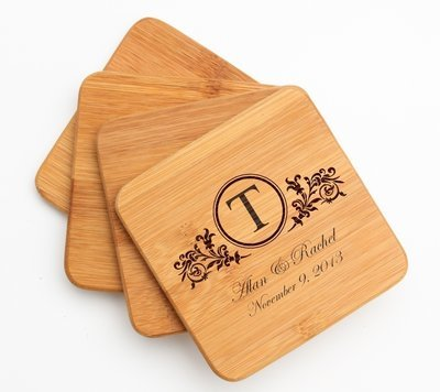 Personalized Bamboo Coasters Engraved Bamboo Coaster Set DESIGN 15