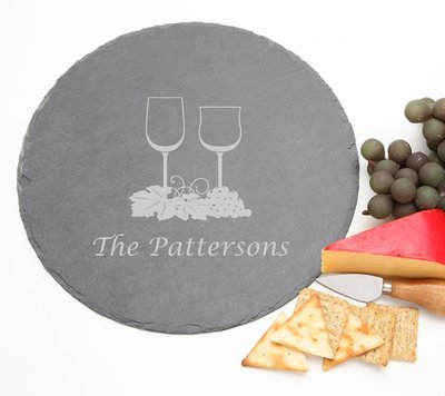 Personalized Slate Cheese Board Round 12 x 12 DESIGN 5