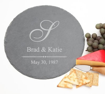 Personalized Slate Cheese Board Round 12 x 12 DESIGN 11