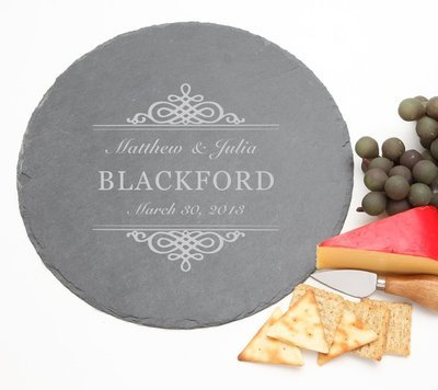Personalized Slate Cheese Board Round 12 x 12 DESIGN 14