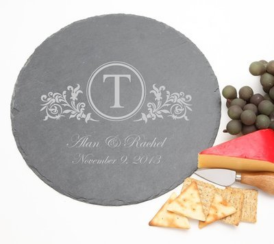 Personalized Slate Cheese Board Round 12 x 12 DESIGN 15