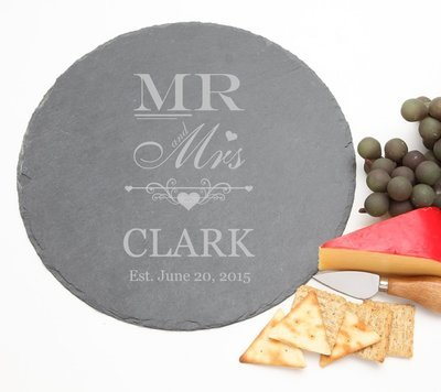 Personalized Slate Cheese Board Round 12 x 12 DESIGN 21