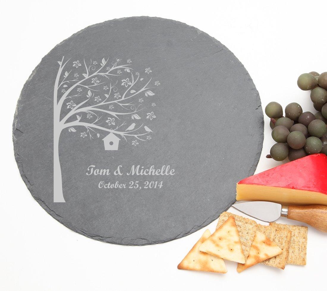 Personalized Slate Cheese Board Round 12 x 12 DESIGN 27