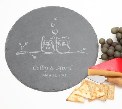 Personalized Slate Cheese Board Round 12 x 12 DESIGN 29